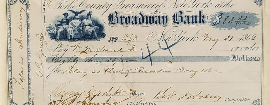 Check – Mayor of New York, 1862