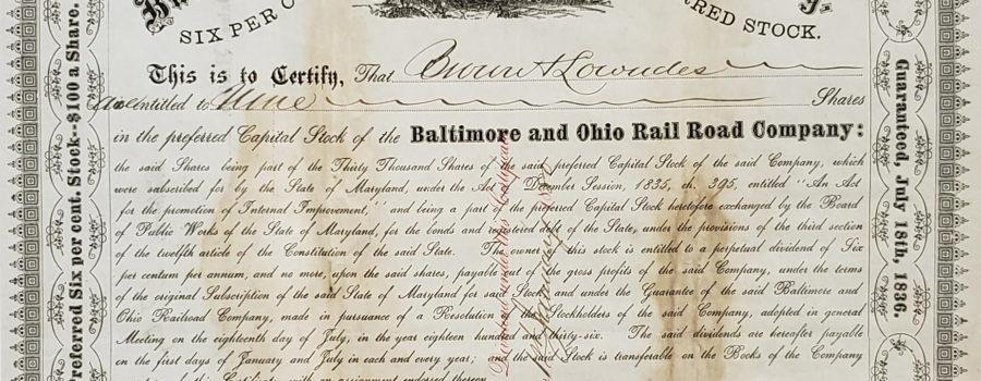 B&O Railroad Stock Certificate