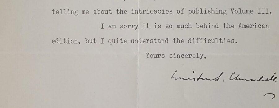 Winston Churchill – Signed Typed Letter